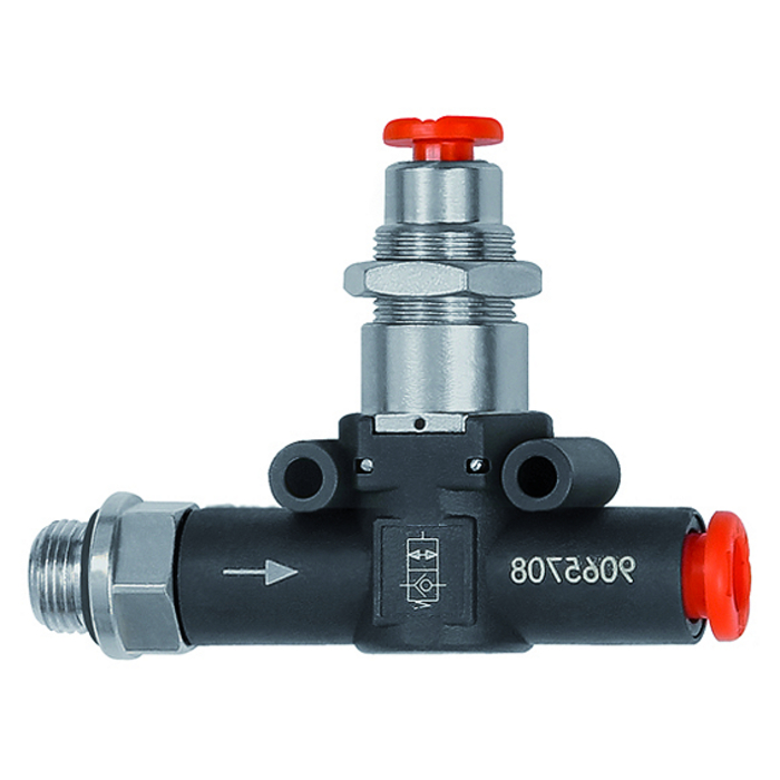 Pneumatically piloted stop valves